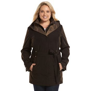 croft & barrow® hooded shawl trench rain jacket - women's plus