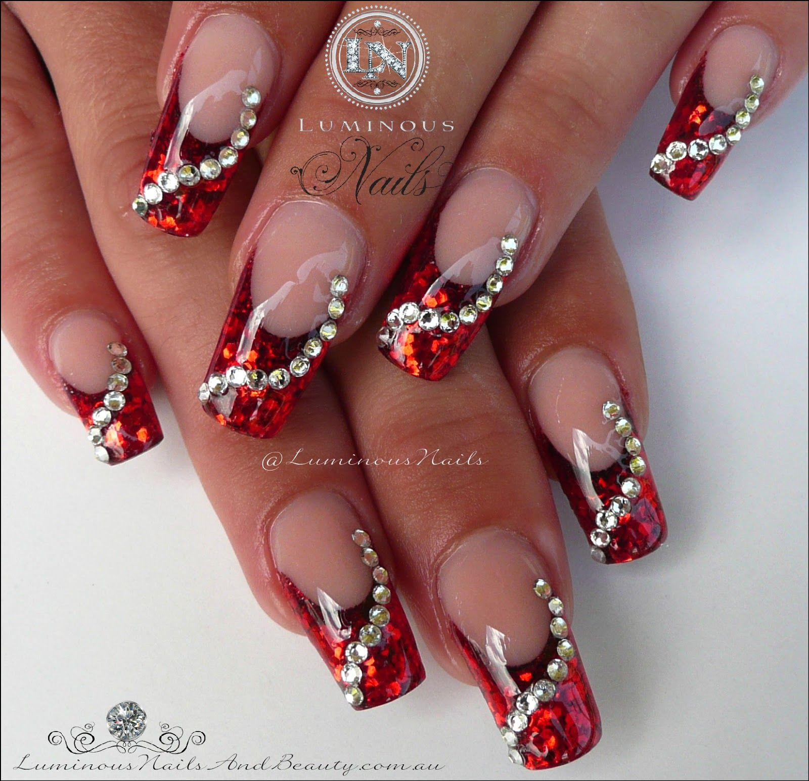 Gel Nails For Christmas 2019: Glittery Red Christmas Nails With Swarovski Crystals
