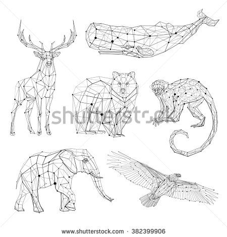 Low Poly Vector Animals Set Stylized Linear Wire Construction
