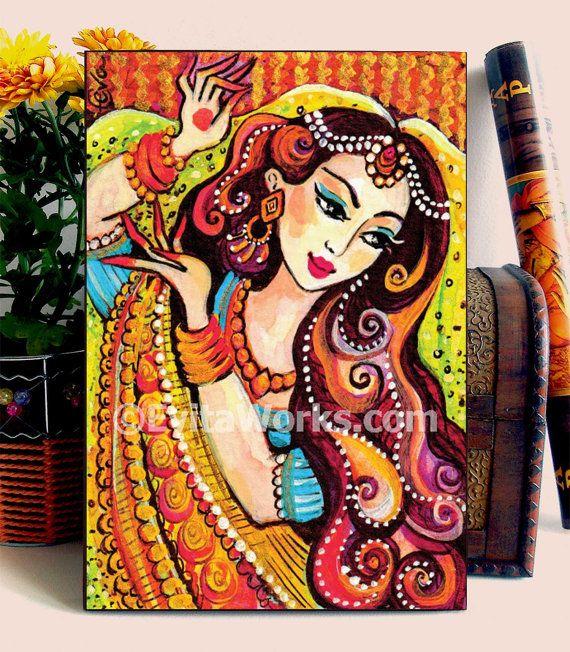 Mermaid Painting Girls Room Decor Indian Woman Home Dancing Girl