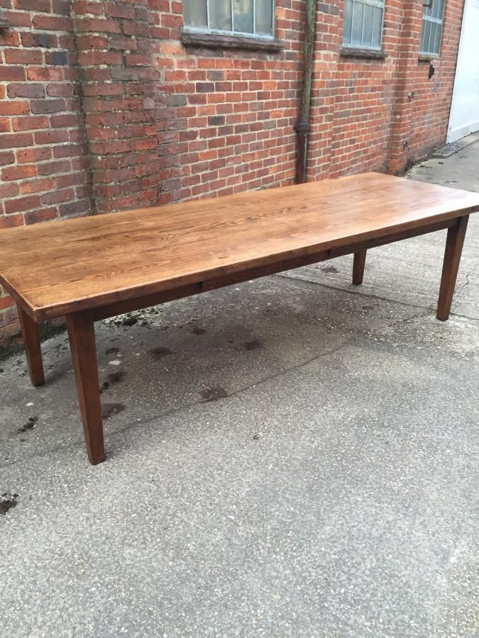 An Lovely Two Plank Elm French Farmhouse Table With Great Width. Table Has  Two Drawers