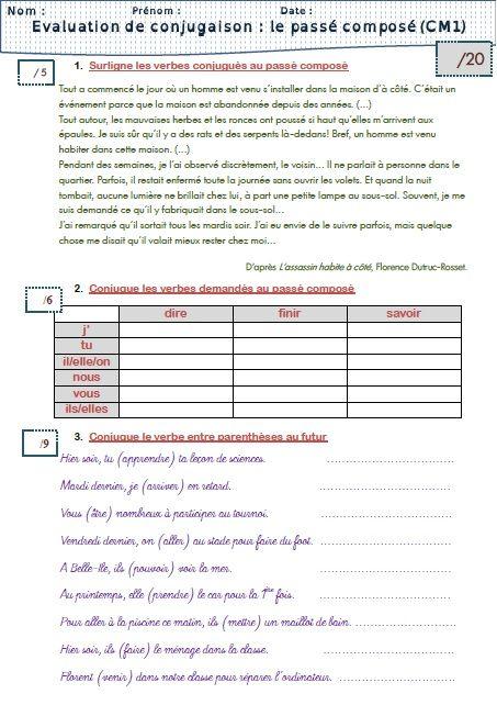 évaluations conjugaison CM1 | Conjugaison cm1, Enseignement du français, Evaluation cm1