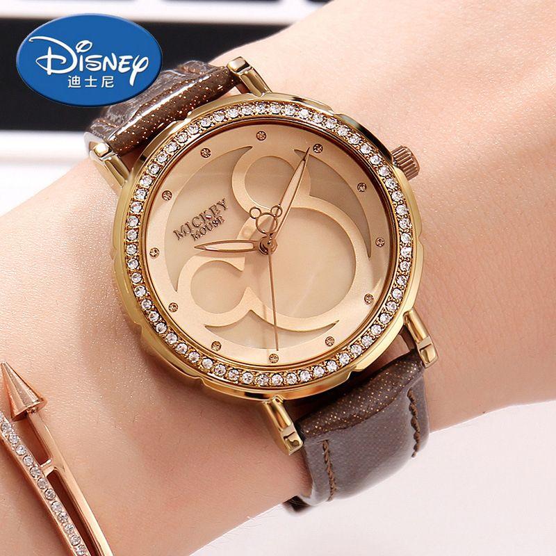 Disney Kids Watch Women Watch Fashion Quartz Wristwatches Girls Mickey Mouse  Gift Leather clock Genuine Brand Review 89df29efd435