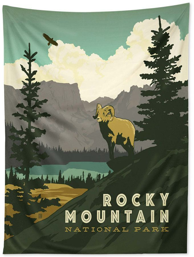 Deny Designs Anderson Design Group Rocky Mountain National Park Tapestry Reviews Wall Art Macy S Retro Travel Poster Park Art National Park Posters