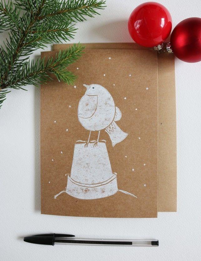 Robin in Snow lino printed Christmas Card £3.00   Ellen Green ...