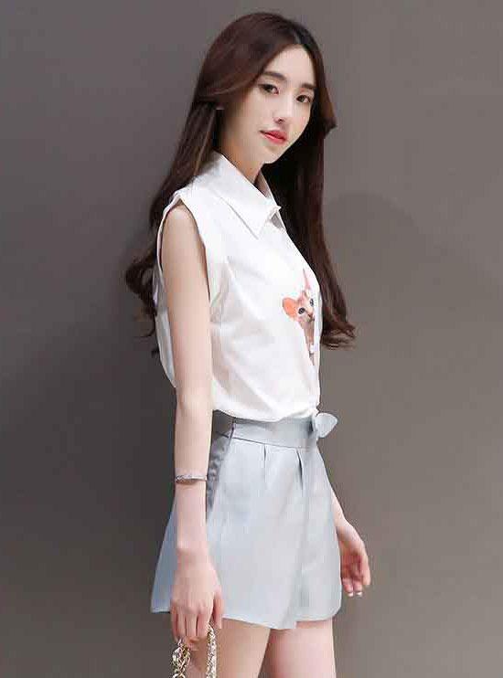 Baju Setelan Celana Pendek Wanita Korea Modis Dan Casual B2928