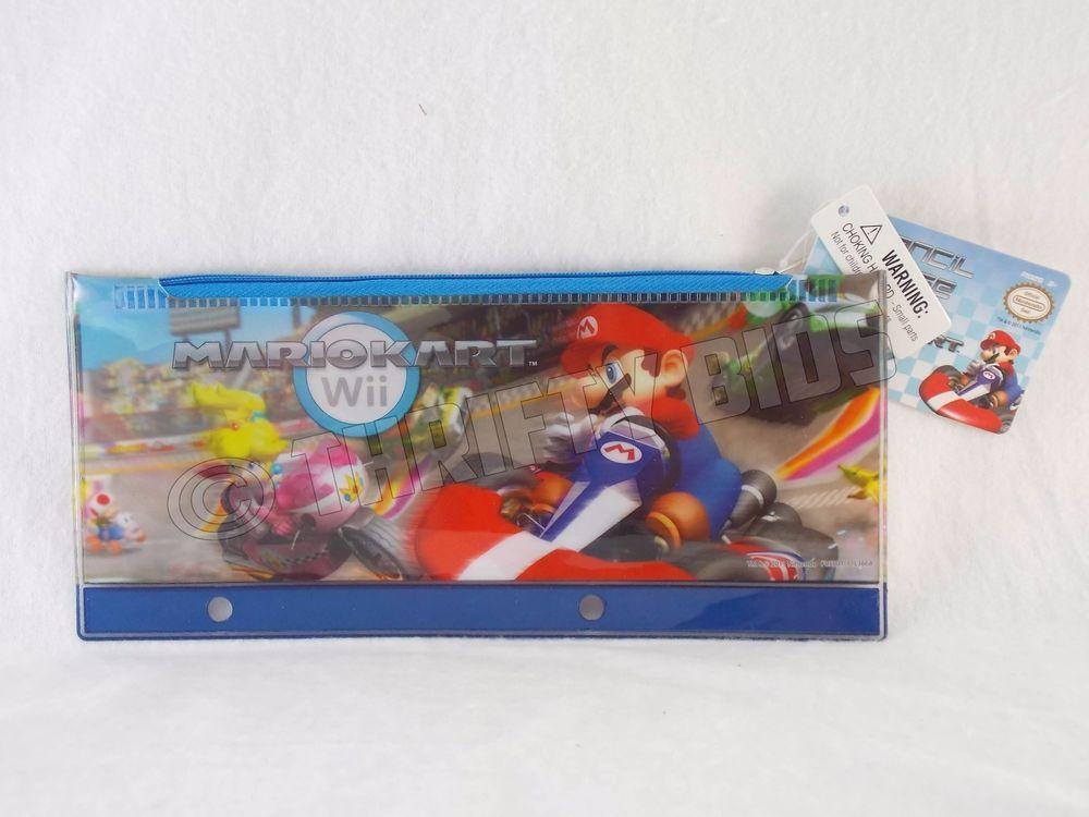 Nintendo Wii Mario Kart Plastic Pencil Case 3 Ring Binder Pouch Mario 3668MB New #Nintendo
