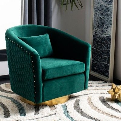 Brilliant Clara Quilted Swivel Tub Chair Emerald Safavieh Green Creativecarmelina Interior Chair Design Creativecarmelinacom
