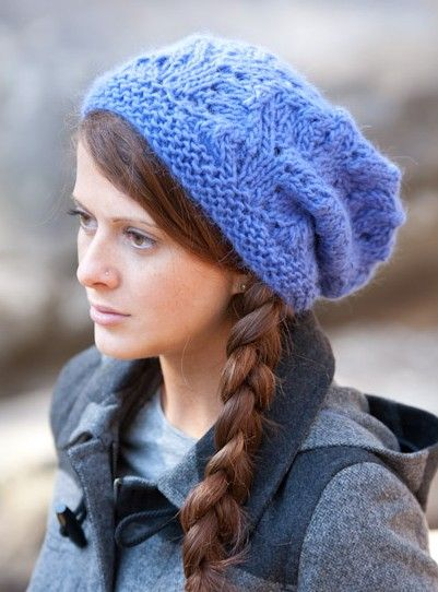 Free Knitting Pattern for Montera Slouchy One-Ball Hat from SweaterBabe.com