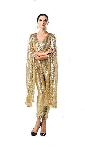 335e9f1d43 Missord Women Sexy deep v Angel wings sequin evening party cocktail playsuit  Gold X-Small