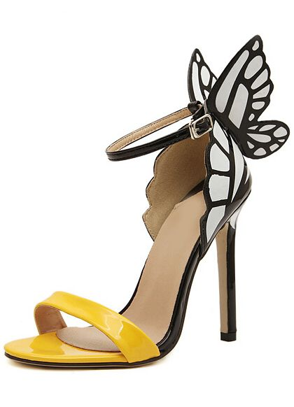 6eed6089ee7c27 Yellow Slingbacks With Butterfly High Heeled Sandals