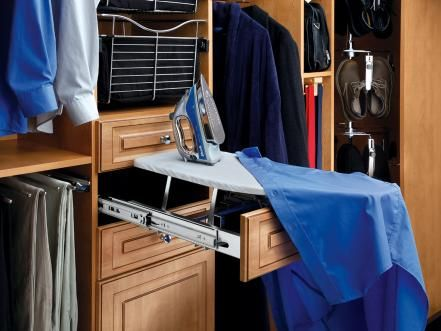 """Install a pop-up ironing board, like this model from Rev-A-Shelf, into a closet drawer and you'll be able to touch up your clothing without having to wrestle with that beast of a regular ironing board. In can be installed in any drawer that has an opening between 14-1/4"""" and 21"""" wide. If only all wrinkles would disappear so easily."""