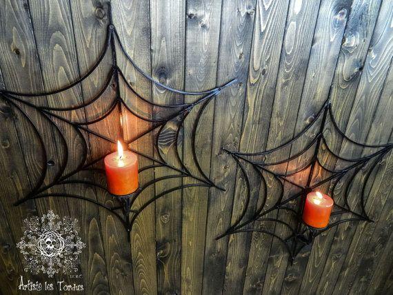Chandelier mural en fer forgé, en forme de toile d'araignée