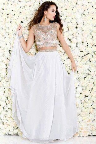 Ivory Exotic Sleeveless Set With Bead Embellishment 4033