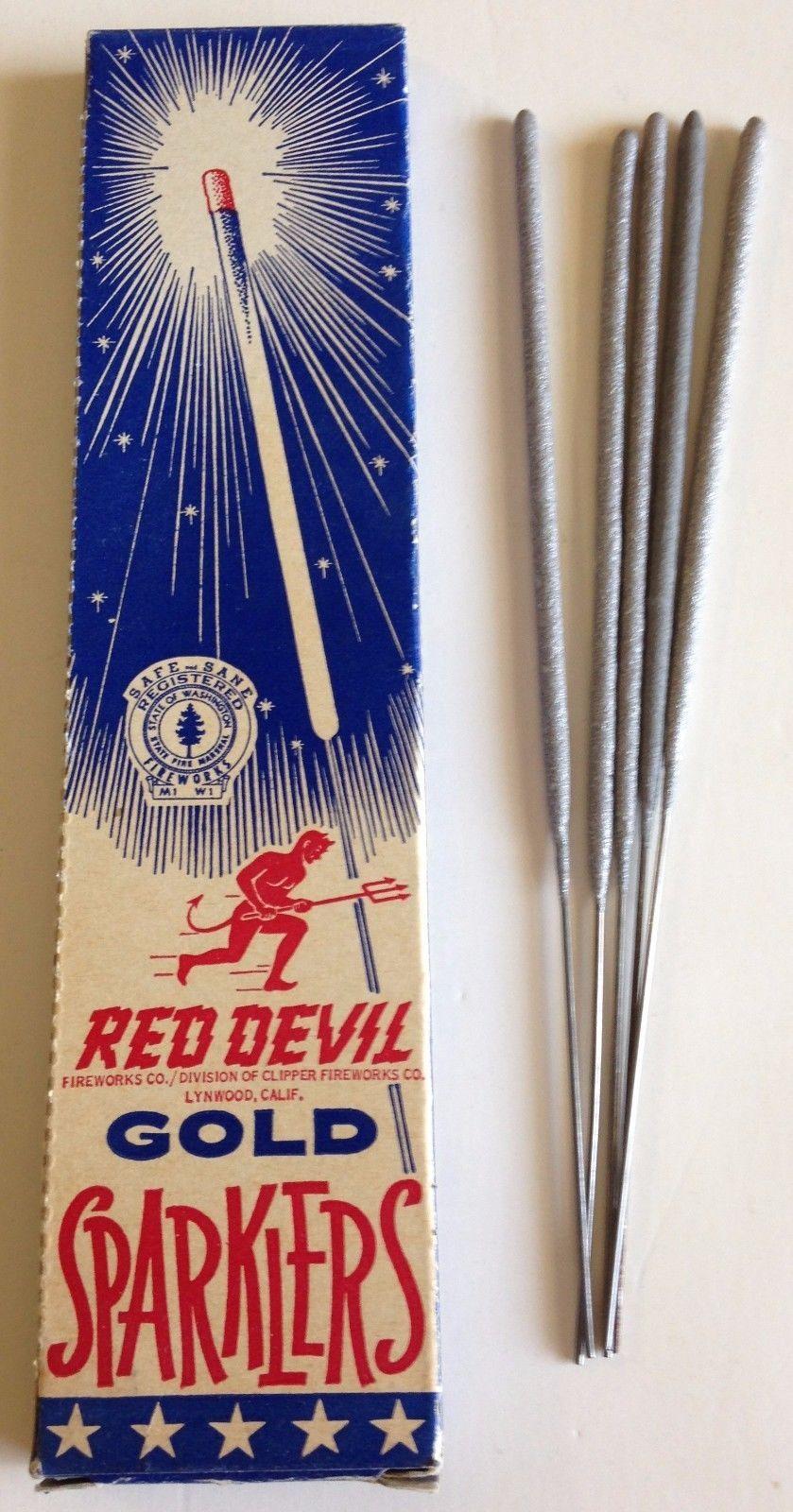 1960s Red Devil Gold Sparklers, Box + 5 Unused Sparklers