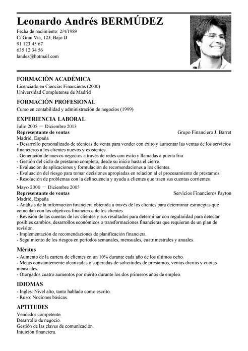 Modelo De Curriculum Vitae Ventas