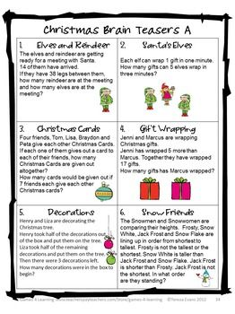 Christmas Brain Teasers.Christmas Math Activities Games Puzzles And Brain Teasers