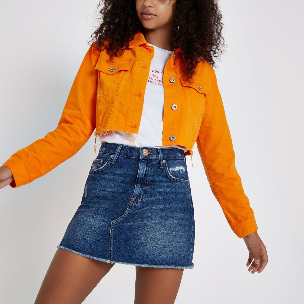 Orange Raw Hem Cropped Denim Jacket Coats Jackets Women Winter Coats Women Cropped Denim Jacket [ 1200 x 1200 Pixel ]