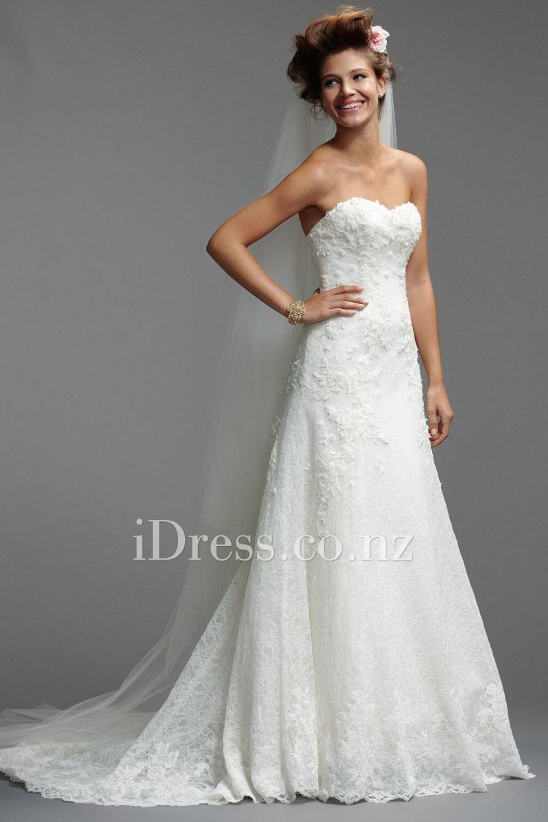 a-line floral alencon lace sweetheart chapel train wedding dress from idress.co.nz