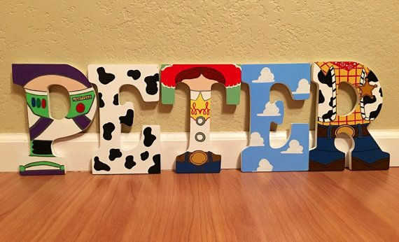 Disney Toy Story letter art. Hand painted wood letters. Kids room