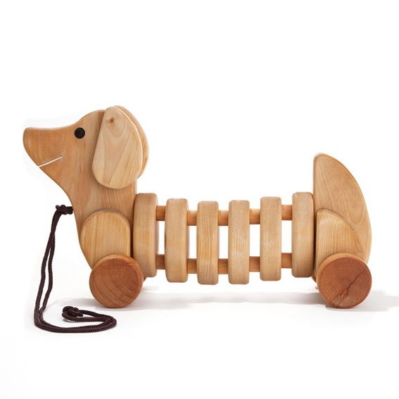 Baby Wooden Toys : Little ones baby nursery kids toys pull toy dog