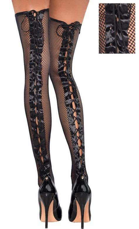 Lace-Up Fishnet Thigh High Stockings - Party City