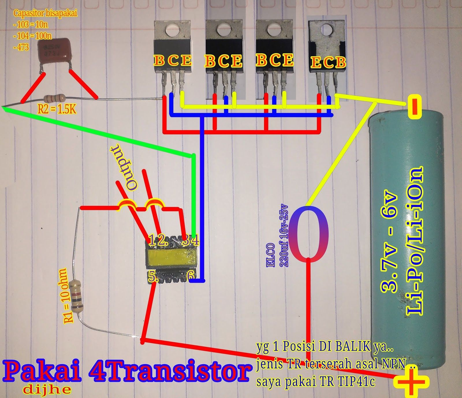 Skema Rangkaian Joule Thief Inverter Mini Dengan 4 Transistor Ok In This Project A 2transistor Amplifier Is Built On The First Section Kita Mulai Ya Kali Ini Sayaaau Share Tutorial Membuat