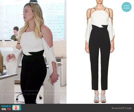 11cbbc17ba9d Kelsey s black and white cutout shoulder jumpsuit on Younger