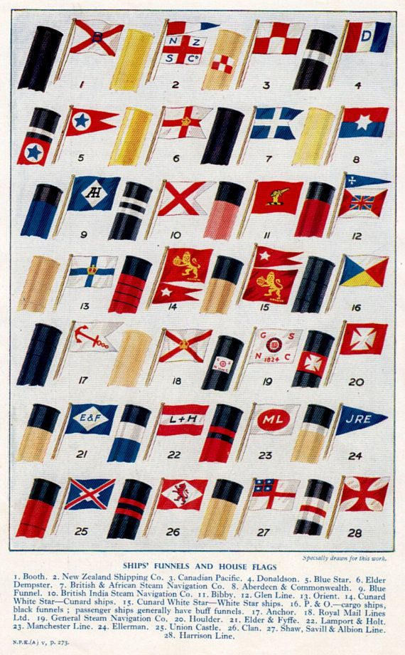 Vintage Print SHIPS Funnels And House FLAGS By TheStoryOfVintage - Us flagged cruise ships