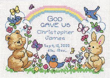God's Babies Birth Record - Cross Stitch Kit | Cross stitch | Cross