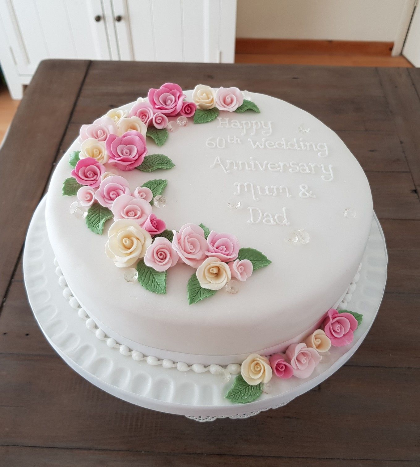 For a diamond wedding anniversary made by kimus cake gallery in