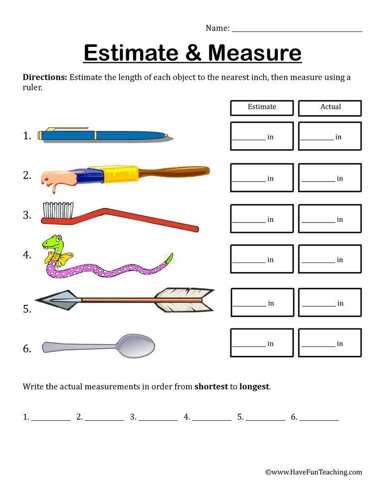 3rd Grade Math Measurement Worksheets Estimate And Measure Inches Worksheet Lembar Kerja Matematika
