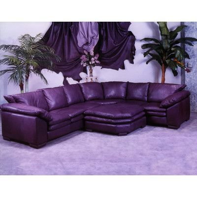 Omnia Leather Fargo Leather Sectional With Ottoman Purple Furniture Leather Sectional Purple Home Decor