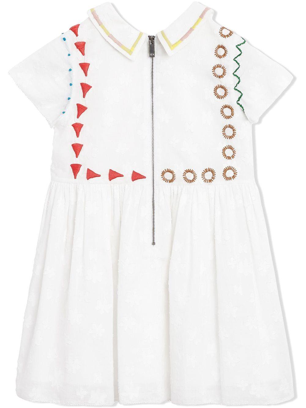 83b89a935 Burberry Kids Peter Pan Collar Embroidered Cotton Dress