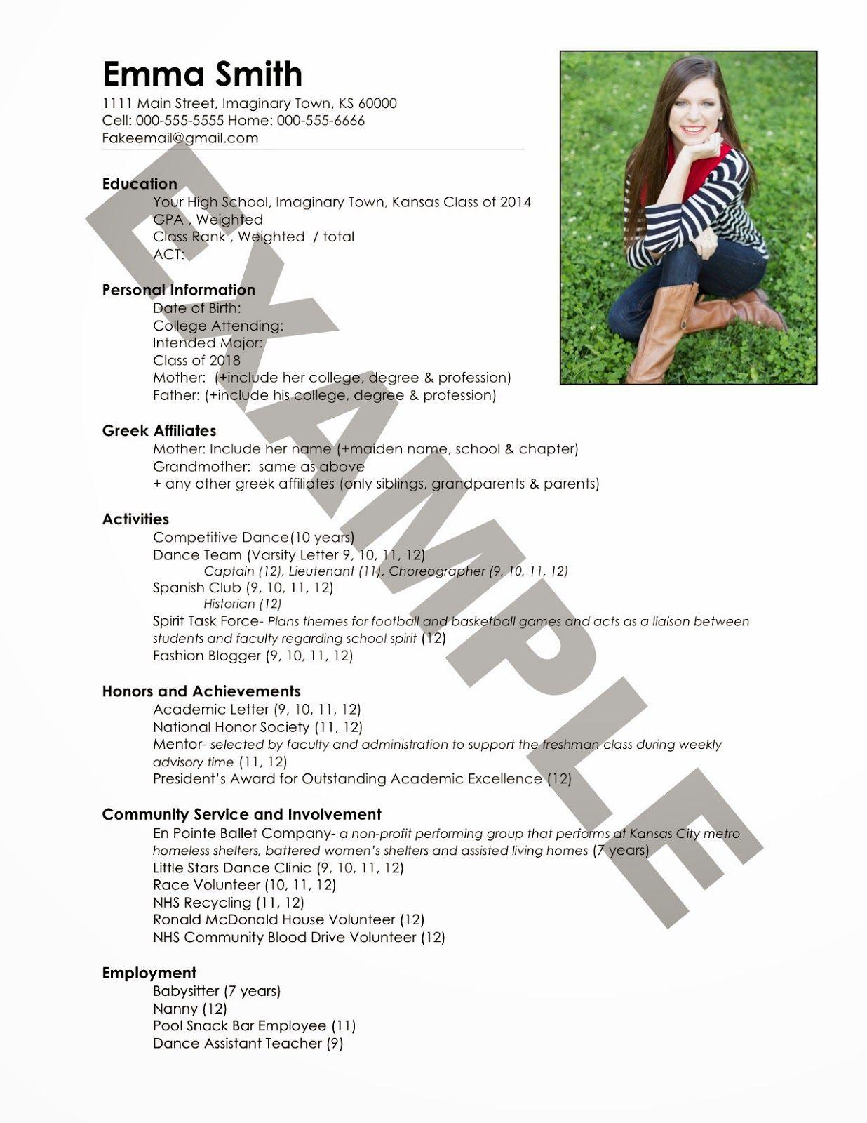 sample resume for sorority recruitment