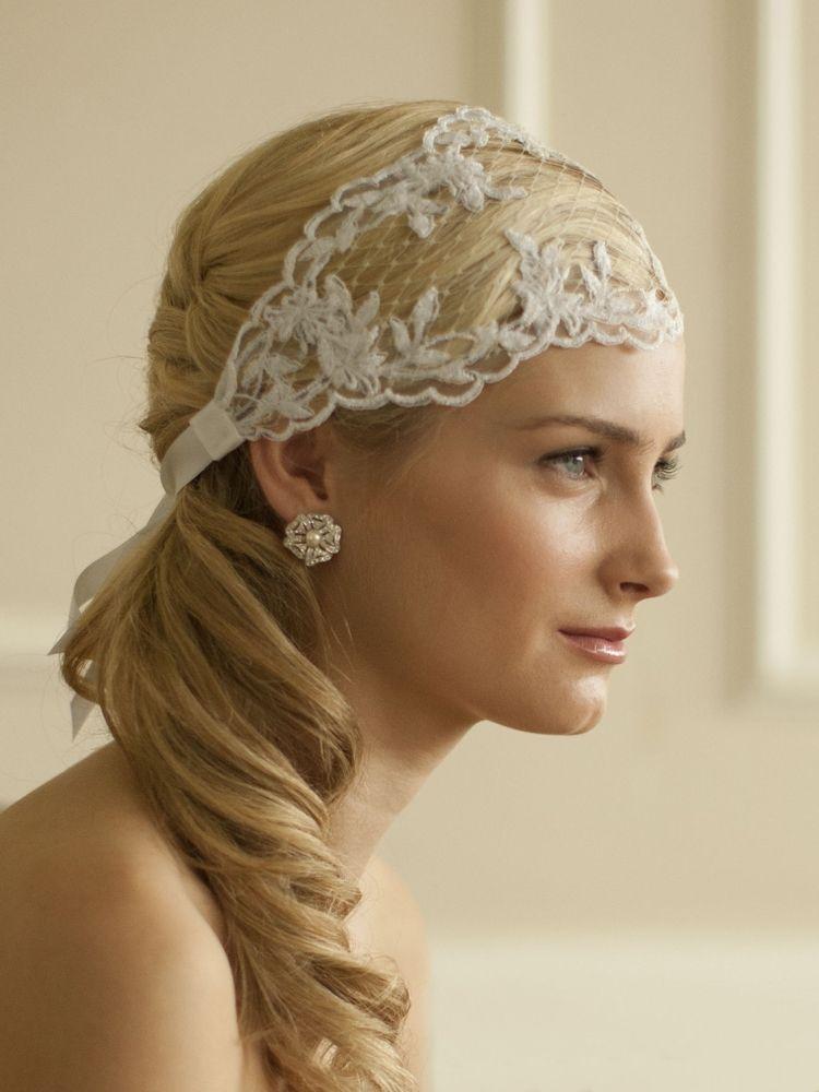 ivory split lace ribbon wedding headband with french netting bridal headpieces