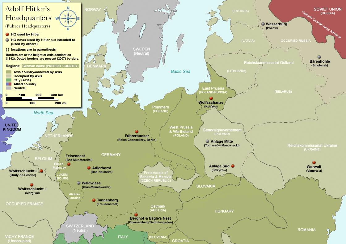 Map of Hitleru0027s Headquarters in Europe 1933 1945