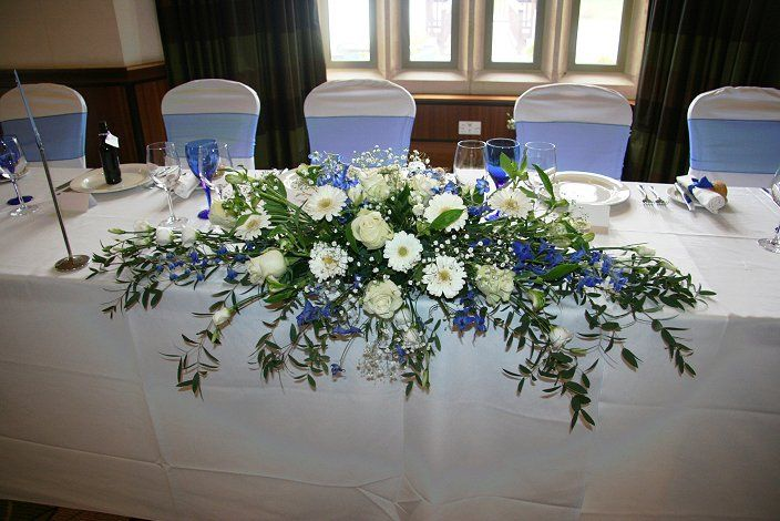 Top Table Arrangement Blue And White Wedding