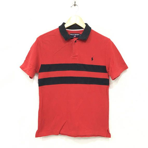 Rare POLO Sport Ralph Lauren Stripes Tee Tshirt Small Pony