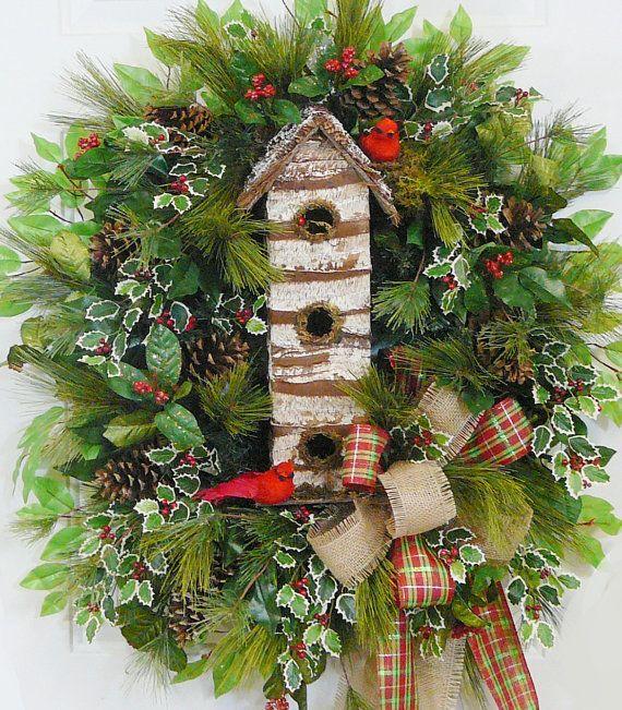xxl christmas door wreath outdoor holiday wreath w birdhouse and burlap double bow christmas. Black Bedroom Furniture Sets. Home Design Ideas