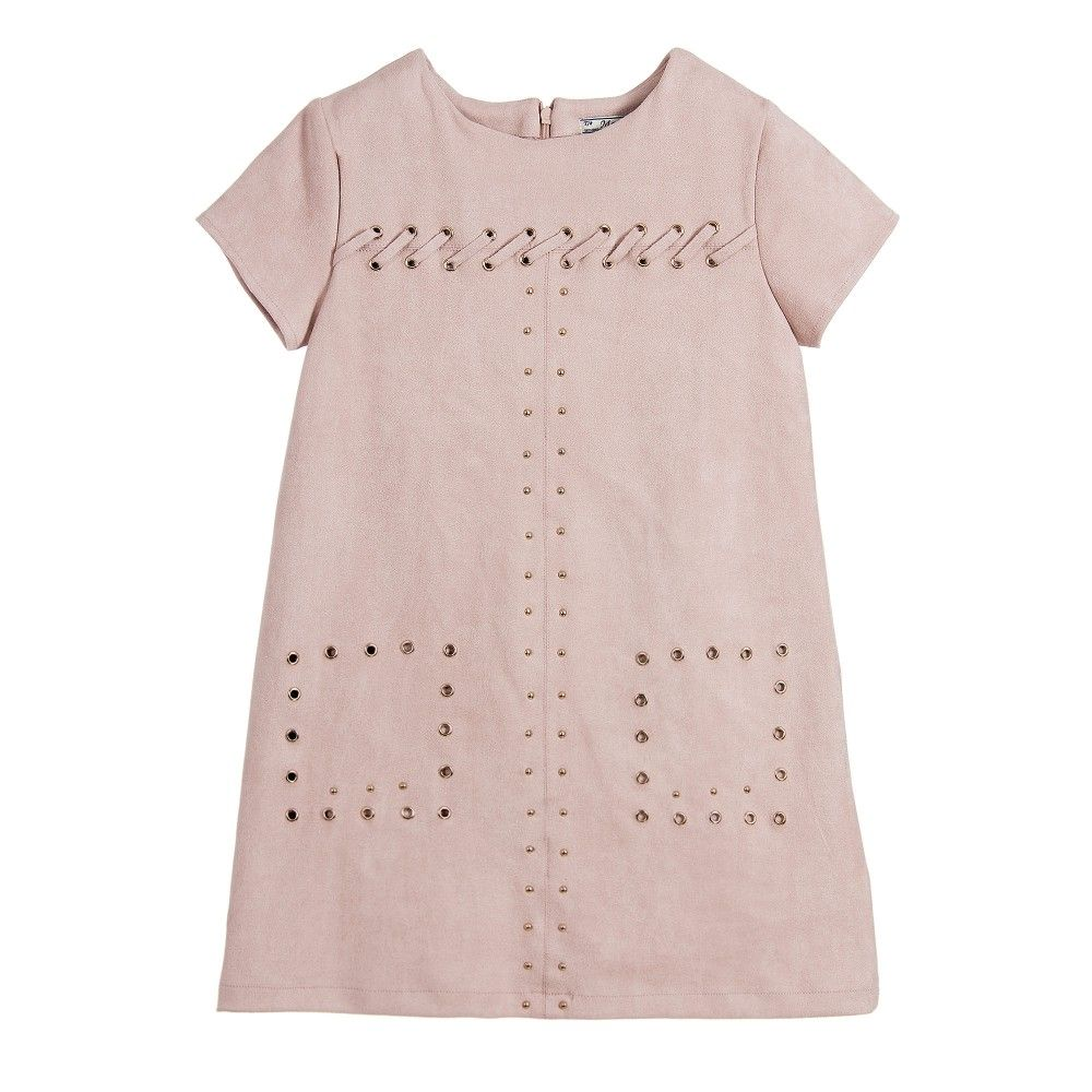 Girls dusky pink shortsleeved dress by mayoral made in soft