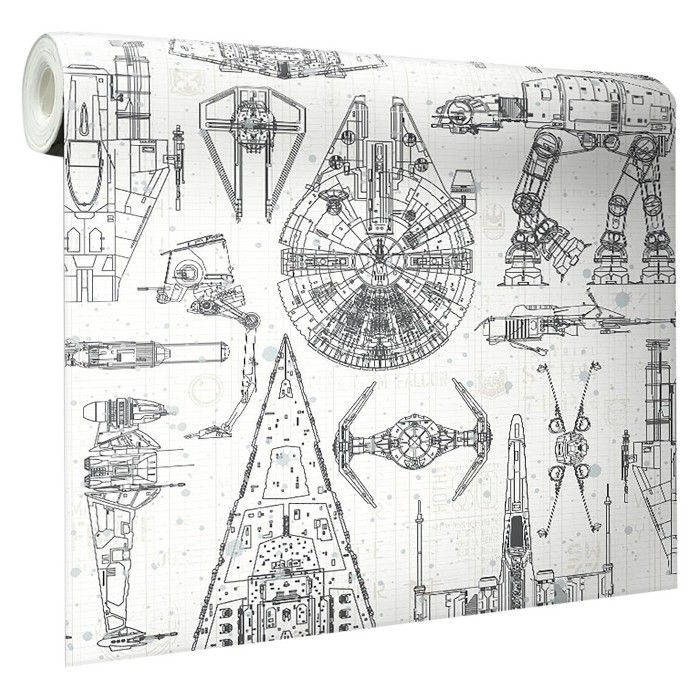 Star Wars Spaceship Blueprints Peel and Stick Wallpaper