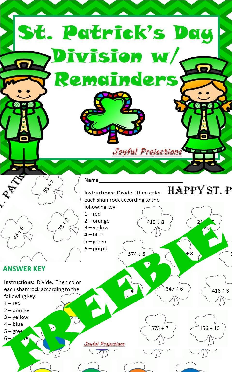 St. Patrick\'s Day Division with Remainders - 2 Different Levels ...