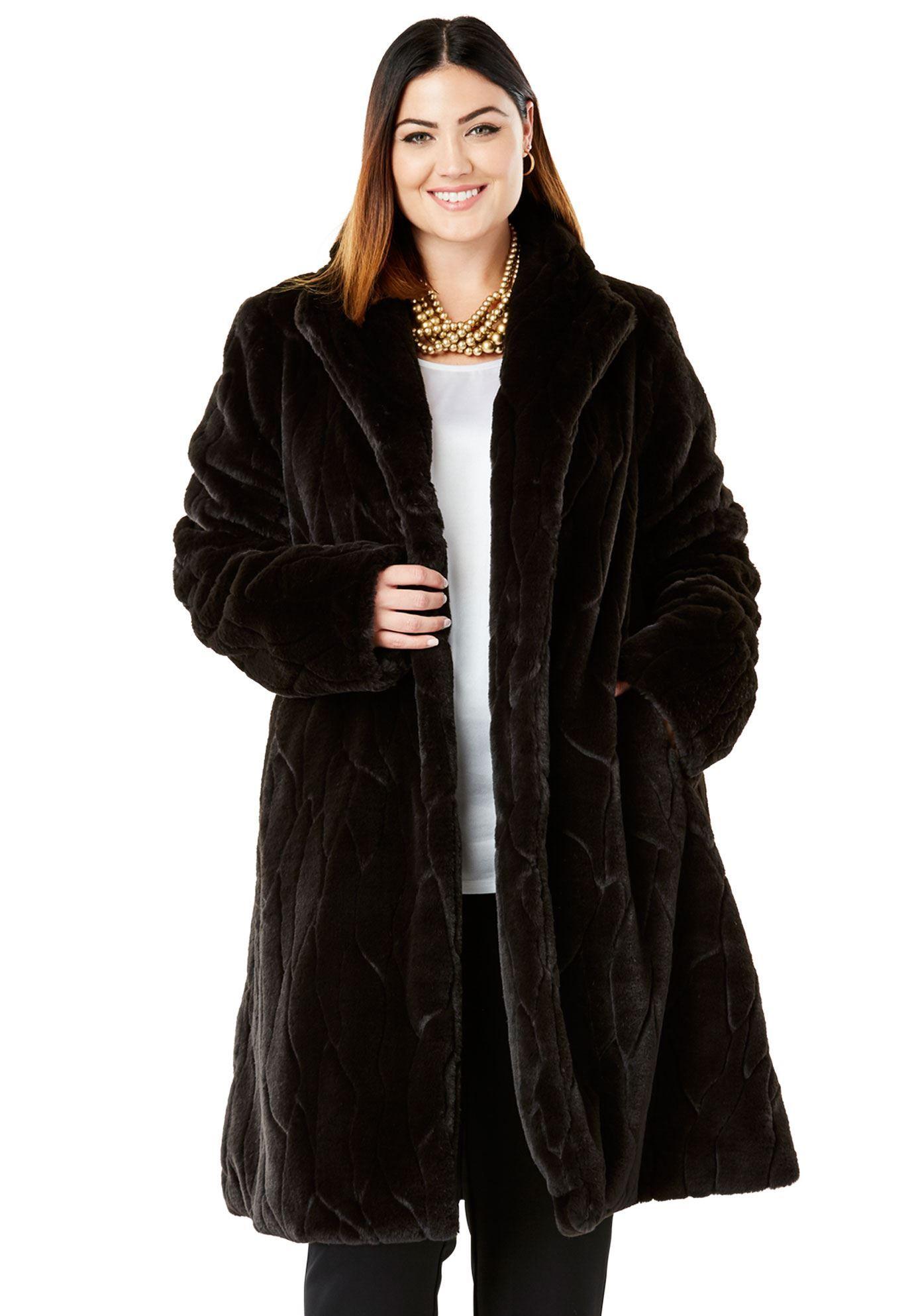 Faux Fur Swing Coat Women S Plus Size Clothing Faux Fur Swing Coat Faux Fur Shearling Coat Swing Coats [ 1986 x 1380 Pixel ]