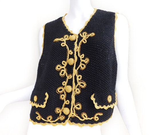 Sz M 90s Michael Simon Crochet Sweater Vest - Vintage Women's ...
