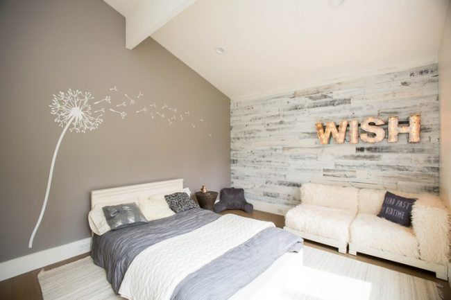 Wandpaneel Holz Weiss Landhaus Schlafzimmer Akzentwand Pusteblume Wandtattoo Innenarchitektur Wohnzimmer Luxusschlafzimmer Innenarchitektur