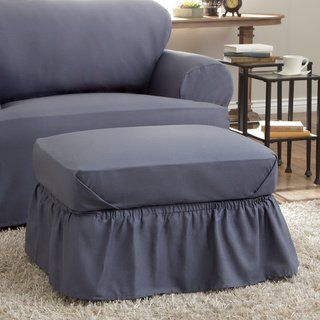 Brilliant Tailor Fit Relaxed Fit Cotton Duck Ottoman Slipcover Ncnpc Chair Design For Home Ncnpcorg