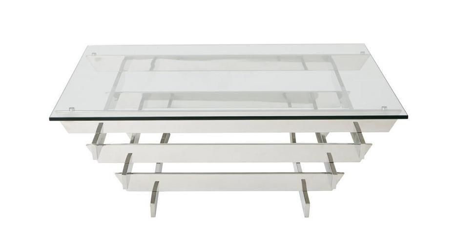 Great Pagoda Coffee Table Polished Steel And Glass | DFS Pictures Gallery
