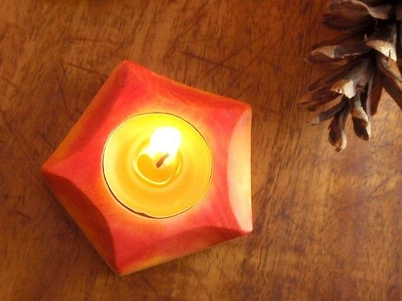 Waldorf Candle Holde Autumn Glowing Luminary Natural Decor Etsy Candle Holders Candles Wooden Candle Holders