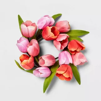Shop For Artificial Wreath Online At Target Free Shipping On Orders Of 35 And Save 5 Every Day With Your T In 2020 Mini Tulip Wreath Tulip Wreath Artificial Wreath